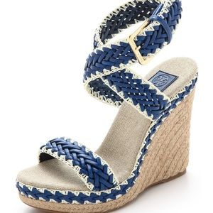 TORY BURCH Paloma Navy Leather Espadrille Wedges